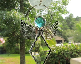 Diamond Angel Crystal Bevel Holiday Ornament - Birthstone Gift Idea - Dainty, elegant, brass filigree wings, decorative solder