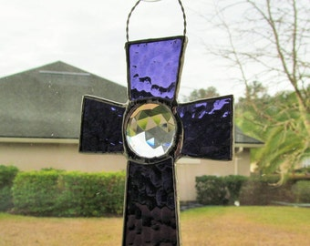 Stained Glass Victorian Style Cross - Purple English Muffle Glass with 35mm Crystal Faceted Jewel Center Stone - Unusual, Vintage Style