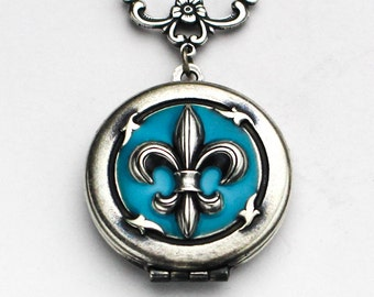 Personalized Locket, Silver Fleur De Lis Locket, Blue Fleur De Lis Locket, Locket Necklace for Women, Aqua Locket, Resin Locket