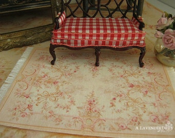 HALF SCALE Pink Abusson Fringed Dollhouse Rug