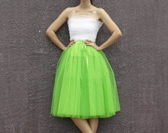 On Sale Size S Tulle Skirt  Elastic Waist tulle tutu Princess Skirt in Grass Green - NC508-3