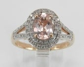 RESERVED Diamond and Morganite Double Halo Engagement Promise Ring Rose Pink Gold Size 7.25
