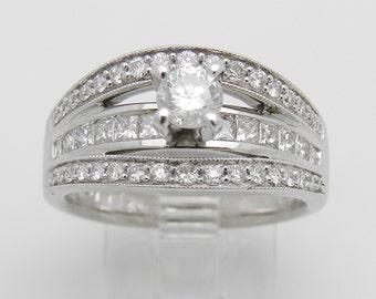 1.50 ct Round Brilliant Natural Diamond Engagement Ring 14K White Gold Size 7.25