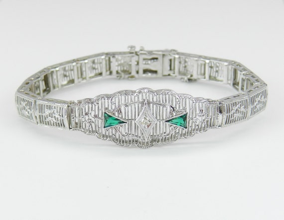 Antique Art Deco White Gold Diamond and Emerald Filigree Bracelet Circa 1920's