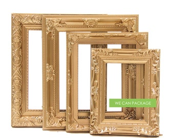 Vintage Picture Frames - Gold Wedding Frames - Antique Photo Frames - Set of 4
