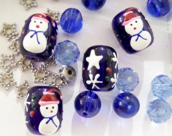 10CT. Christmas Bead Collection w/spacer beads, K30F,  18*15mm, 12*16mm