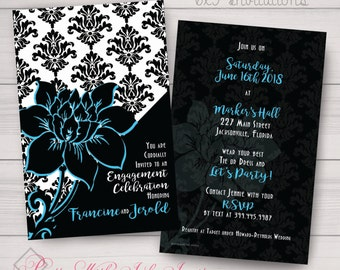 Sweet 16, Wedding, Birthday, Prom, Engagement, Shower Invitations: Damask, Black, White, Pink, Teal, Floral. Samples/Printing/Digital Files