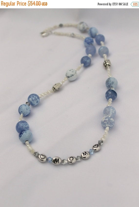 ON SALE Mom necklace, freshwater pearl necklace, Swarovski crystal necklace, Mother's Day necklace, Mothers Day gift, mom gift, blue necklac