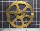 4 Inch diameter Large Brass Clock Gear, Heavy Duty, from Vintage Clock Movement, Clockwork Mechanism Parts, Steampunk Art Supplies 04009