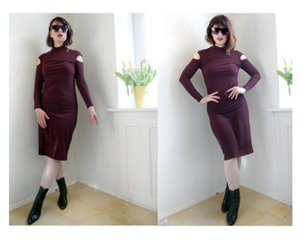 Vintage 90s Cut Out shoulders Dress Dark Cherrie Tight 80s 90s body semi high collar long sleeves Body con dress