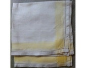 6 Square Damask Ivory Linen Napkins with Soft Yellow Border Vintage 1960s Cloth Serviettes Dinner Setting