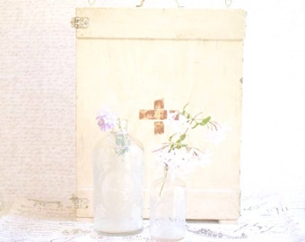 Vintage Glass Bottles Etched Cottage Chic Shabby Chic Parisian Chic