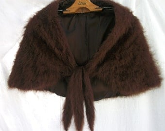 Vintage Wrap ~ Shrug ~ Stole ~ Brown ~ Tie Front Closure ~ Fluffy Knitted Sweater