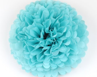 Paper pom pom in Caribbean blue  - wedding decorations / party decor/ nursery decor/ bridal baby shower/ tissue paper pompoms / party poms