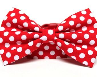 """Bow Tie Dog Collar 1"""" Red White Polka Dot Dog Collar"""