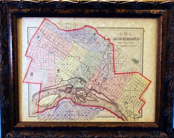 City of Richmond VA Map Print of an 1884 Map on Parchment Paper