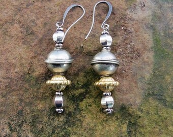 Tribal Earrings with Tribal and Silver Beads