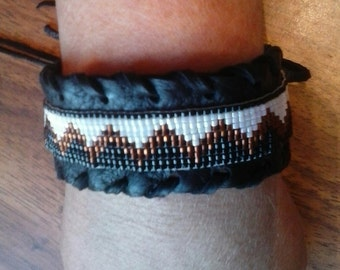 Unisex Beaded Cuff Bracelet on Black Leather with Whip Stitch- Native American- Elusive Wolf