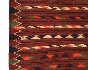 Jajim Kilim Rug, Handknotted Caracol Wool, Wine Burgundy Red, Vintage