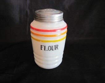 Hocking Flour Shaker from 1930's / Milk Glass Flour Shaker with Stripes