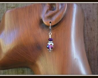 Purple Crystal Earrings, Plum Crystal Earrings, Chinese Crystal Earrings, Crystal Dangle Earrings, Sparkling Crystal Earrings, Crystal Drops