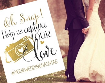 Instagram Wedding Sign   Personalized Wedding Hashtag PRINTABLE   Instant Download