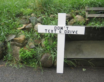 Roadside Memorial Message Cross - Painted White - large size