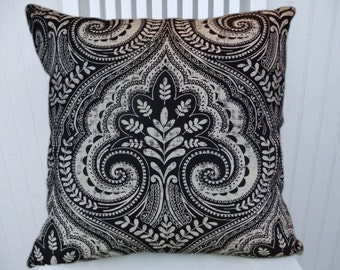 Black Grey Ikat Floral/Paisley- Decorative Cotton Throw Pillow Cover- 18x18 or 20x20 or 22x22- Pillow Cover- Accent Pillow Cover