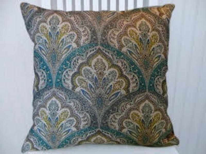 Teal Grey Yellow Turquoise Suzani Pillow Cover18x18 Or