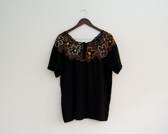 Vintage black cutwork blouse, Indonesian embroidered blouse, 80s Bali top, metallic gold embroidery, short sleeve black blouse medium