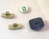 RESERVED 4 Vintage Plastic Buttons - Shank Style - De-Stash No. 1684