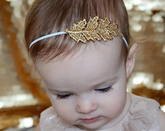 Gold Flower Girl Headband, Gold Leaf Stretchy Baby girl wedding headband, baby hair accessories, photo shoot prop READY TO SHIP