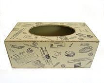 Rustic Beige Tissue / Kleenex Box Cover/ Holder With Various Postage Stamps - Travel Decor - Home / Bedroom / Office Decor - Distressed