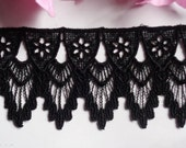 Venise Lace, 2+1/2 inch wide black color selling by the yard