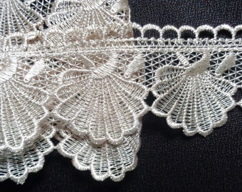 2 1/2 inch wide beige color embroidered lace trim selling by the yard