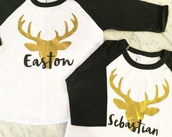 kids deer shirt, reindeer shirt, gold deer shirt, christmas shirt, boys holiday shirt, gold reindeer head, gold stag shirt, birthday shirt