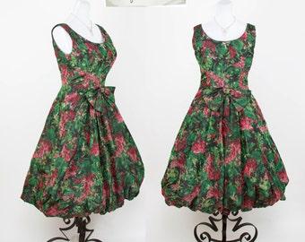 1950s Dress // Bubble Hem Full Skirt Silk Taffeta Green and Magenta Floral Party Dress by Mari for I. Magnin