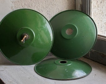 French Enamelware Lighting //  1940 Industrial Lamp Shades // Set of 3 Green & White Enameled Metal Fixtures