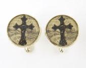 Cross Cuff Links - Black Tan Silver Rustic Christian Cross Mens Cufflink Accessories