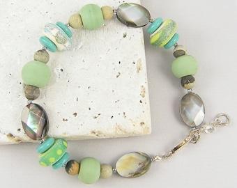 Green Bead Bracelet - Turquoise Aqua Gray Cream Lampwork and Shell Bead Jewelry