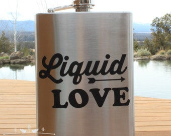 Liquid Love Arrow Flask, Valentines Day, Valentines Gift,Groomsman Gift, Best Man Gift, Groomsmen Gift, Husband Gift, Gifts Under 30