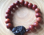 Mala bracelet with rosewood and tektite stretch stacking bracelet meteorite
