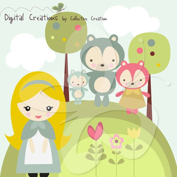 Goldilocks and the Three Bears Digital Clipart Clip Art - Personal and Commercial Use