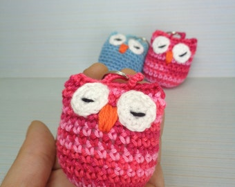 Crochet keychain owl, crochet owl, cute owl, colourfull, keychain, keyring, handmade, crochet keychain, sleeping owl, owl keychain