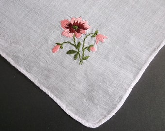 Vintage Handkerchief, Embroidered,  Pink Flowers, White, Linen Hankie, Handkerchiefs, All Vintage Hankies