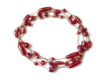 Long Red Beaded Necklace - Double Strand Wrap
