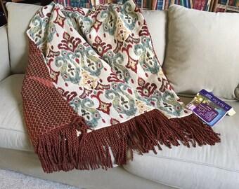 Ikat Throw Blanket, Moroccan Blanket, Ethnic Bedding, African Tribal Throws, Red Turquoise Rug, Wall Hanging, Luxury Throws, OOAK