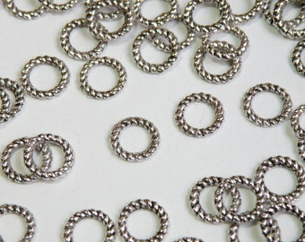 25 Twisted rope round circle ring connector links antique silver soldered closed 9mm 18 gauge PLF10218Y