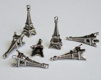 10 Eiffel Tower 3D Charms antique silver pendant Paris France 26x10mm DK10139
