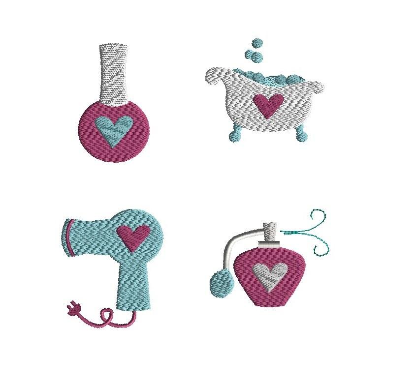 Mini spa machine embroidery designs filled stitch instant